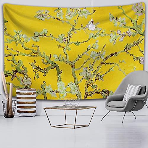 ydlcxst Tapiz Flor Azul Gran Árbol Planta Tapiz Arte De La Pared Decoración Sala De Estar Dormitorio Decoración Colgante De Pared 140X210Cm /3716