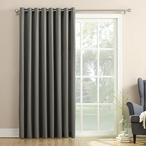 "Sun Zero Barrow Extra-Wide Energy Efficient Sliding Patio Door Curtain Panel with Pull Wand, 100"" x 84"", Steel Gray"