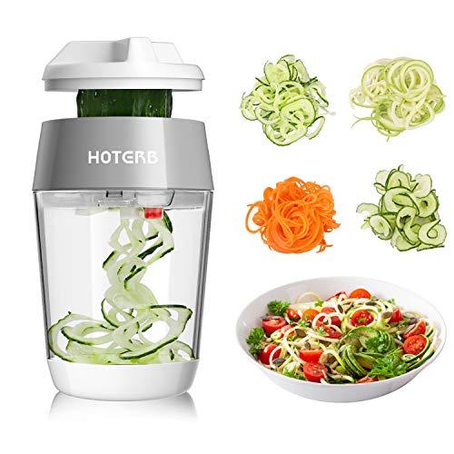 HOTERB Taglia Verdure 4 in 1,Spiralizzatore di Verdure per Spaghetti di Zucchine,Mandolina per Verdure Affetta Verdure Manuale,Affettatrice Verdure per Carote,Cetrioli