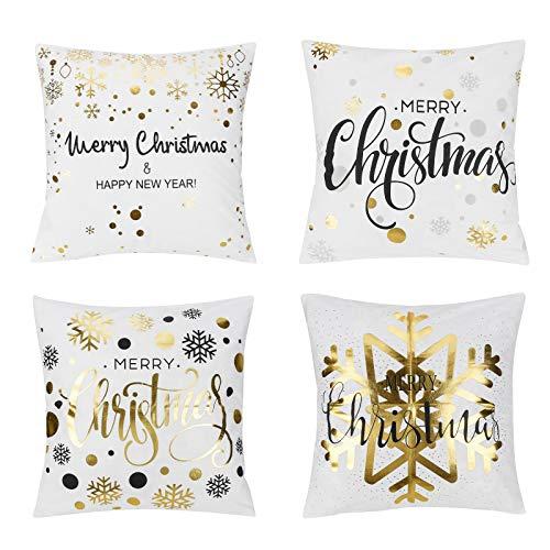 Furado 4 Stück Kissenbezug Weihnachten,Frohe Weihnachten Dekorative Kissenhülle Weiß Winter Strumpf Geschenk Glocke Goldprägung Muster Baumwolle Werfen Sie Kissenbezüge 45x45 cm