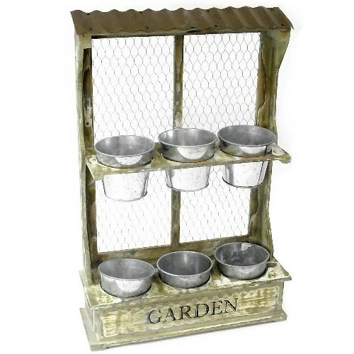 Rustic Wooden Large Wall Mesh Display Unit 6 Metal Pots Small Plants Herbs Chic