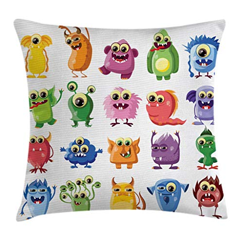 Zanghyu Outer Space Throw Pillow Cushion Cover Little Monsters with Funny Goofy Gestures Bacteria Beasts Kids Themed Pillowcase Cotton Linen Square Pillow Case Home Decor for Sofa Room Size 18x18Inch