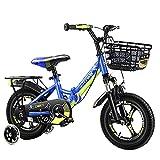 WYYY Bicicleta para Niños Plegables 2-3-6-8-10 Años Bicicleta para Niños con Estabilizadores Bicicleta De Bicicleta 12-18 Pulgadas Portátil Cochecito De Bebé Mejor Regalo De B(Size:16in,Color:Azul)