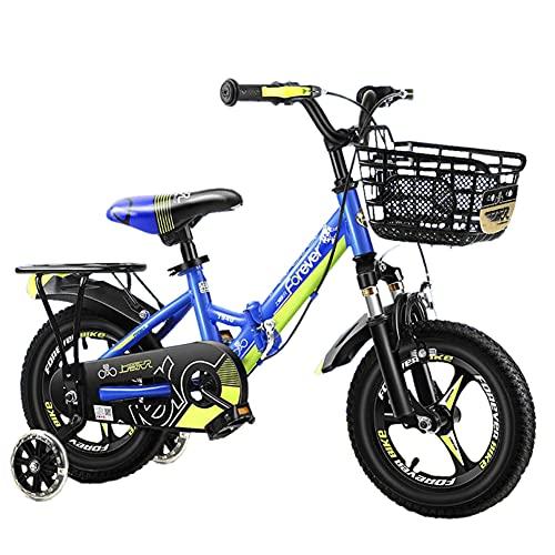 WYYY Bicicleta para Niños Plegable, Bicicleta para Niños Portátil para Niños Y Niñas, Adecuado para Niños De 3 A 12 Años, Fiestas, 3 Colores, 12', 14(Size:18in,Color:Azul)