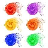 QLOUNI 12pcs Pañuelos de Malabares/ Bailar con los pañuelos/ Mágica Show/Decorativa Navidad/Malabares Bufandas Ideal para Multitud de Actividades y Juegos (6 Colores)