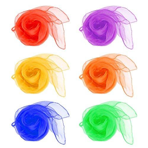 QLOUNI 12 Stück Jongliertücher Quadrat Schals Gymnastiktücher Tanz Tücher Mehrfarbige Schals zum Jonglieren, Tanzen, Spielen