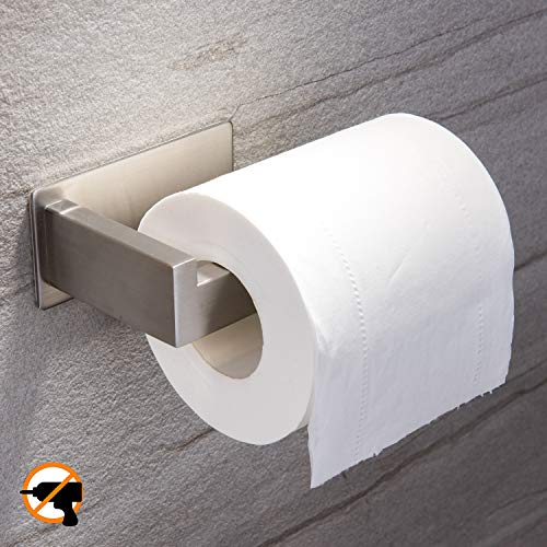 YIGII Toilet Paper Holder Adhesive - Self Adhesive Toilet Tissue Holder for Toilet Roll Bathroom Stick on Wall Stainless Steel Brushed