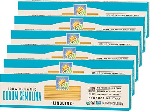 Bionaturae Linguine Durum Semolina Pasta | Durum Semolina Linguine | Non-GMO | Kosher | USDA Certified Organic | Made in Italy | 16 oz (6 Pack)