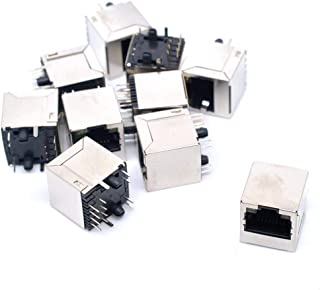 DealMux 10 Stks afgeschermde RJ45 8P8C 180 Graden Hoek Netwerk Modulaire PCB Mount Jack Connector