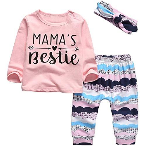 sunnymi Baby Kinder Kleidung Camiseta de manga larga para bebé recién nacido, camiseta de manga larga + pantalón de flores + diadema atuendo Rosa. 9-12 Meses