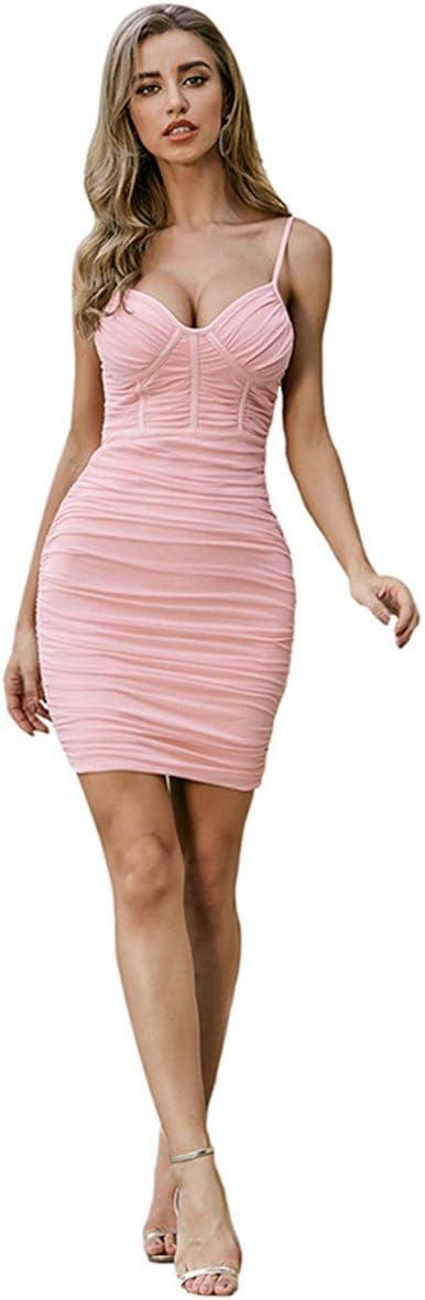 YonCog Ladies Evening Dress Temperament Pleated Bandage Suspender Skirt Dress Women's Club & Night Out Dresses (Color : Pink, Size : Medium)