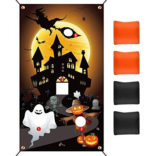 TUPARKA Halloween Ghost Bean Bag Wurfspiel mit 4 Sitzsäcken 19,7 ft Seil für Kinder Familie Halloween Party Game Favor Supplies