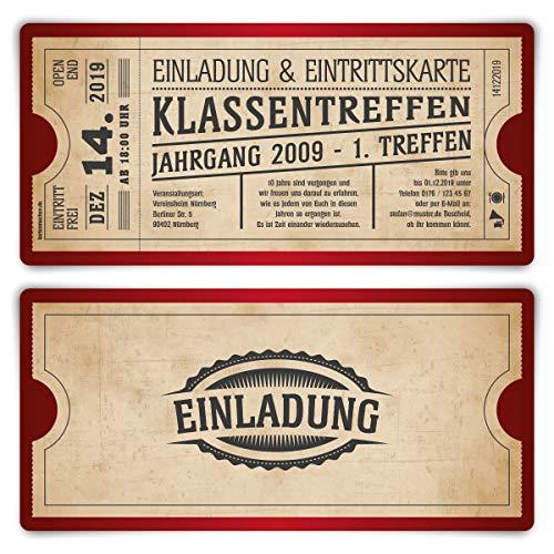 30 x Klassentreffen Einladungskarten individueller Text DIN Lang mit Abriss - Vintage Ticket in Rot