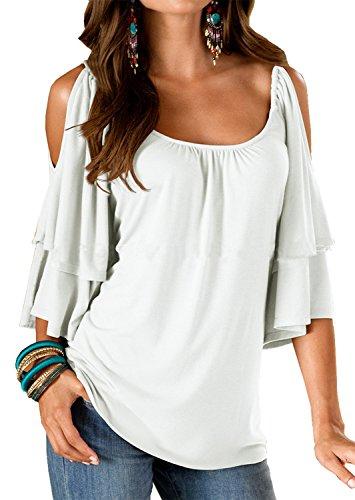 Landove Imperio Llanura de cuello redondo manga corta blusa de maternidad grande Negro Pequeñas para Mujeres White S