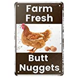 ANJOOY Vintage Metal Tin Sign - Farm Fresh Butt Nuggets -Chicken Egg Sale Market FarmBarn BathroomYardrThemedGifts Rustic Poster Art Retro Decor 8x12 Inch