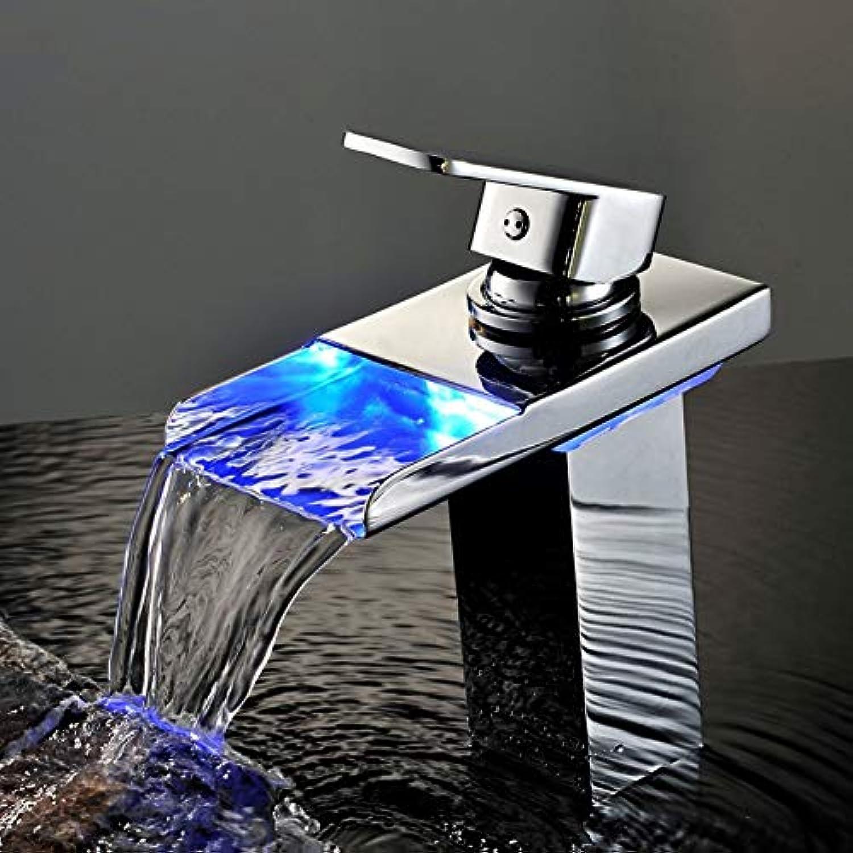ZHFJGKR&ZL Chrom-Wasserfall-Becken-Hahn führte Wasserkraft-Strom-Erzeugungs-Lumineszenz-Wasserhahn für Badezimmer
