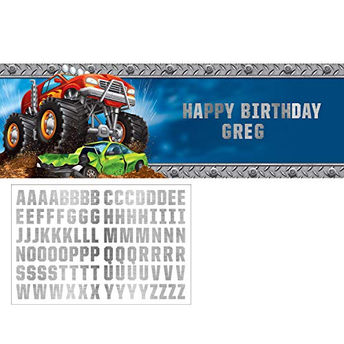 Creative Converting Monster Truck Large Banner, 1 ct, Multicolor, 60' x 20'