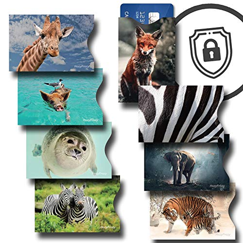 8 RFID Blocking Sleeves, Credit Card Protector, Anti Theft Credit Card Holder, for Men and Women, with Elephant, Zebra, Fox, Giraffe, Seal, Tiger and Pig Prints