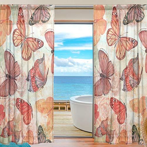 Vorhänge für Zuhause Schlafzimmer Wohnzimmer Dekor Print Semi Sheer Sheer Vorhang Fenster Vorhang 55x84 Zoll 2 Panels Cup Flying Butterfly Ausschreibung Muster Retro Tüll
