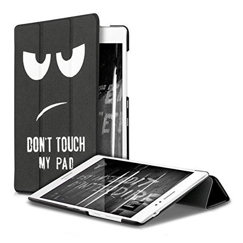 kwmobile Asus ZenPad S 8 Z580C / Z580CA Hülle - Smart Cover Tablet Case Schutzhülle für Asus ZenPad S 8 Z580C / Z580CA - Don't Touch My Pad Design Weiß Schwarz