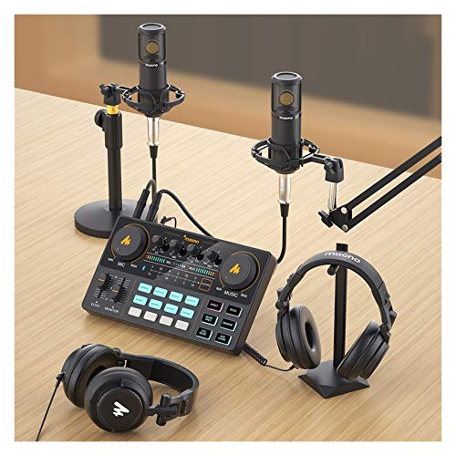 Bidema Micrófono Mezclador Digital Interfaz de Audio Podcast Tarjeta de Sonido Recargable Podcaster for computadora Computadora PC ARMAPORTE Soporte Radio Corre