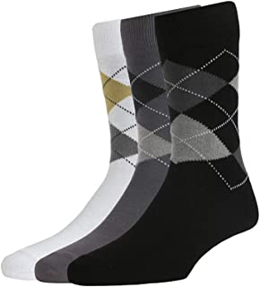 Peter England Men's Cotton, Nylon, Rubber & Spandex Socks (Pack of 3) (PXT4014E_White, Grey & Black_Free Size)