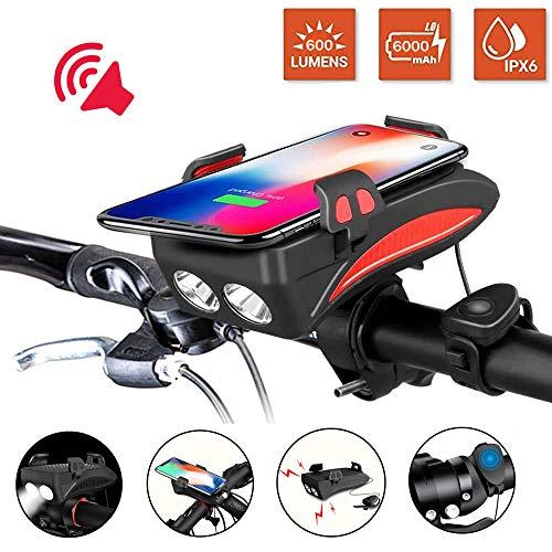 Led fahrradbeleuchtung 3 Modus 600 Lumen Super Bright IP65 Wasserdichter USB Fahrrad licht und 3000 / 6000mAh Mobile Leistung,Fahrrad handyhalterung,Rot,3000mAh