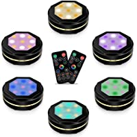 6-Pack Forty4 16 Colors Changing Under Counter Wireless Puck Lights with 2 Remote Controls