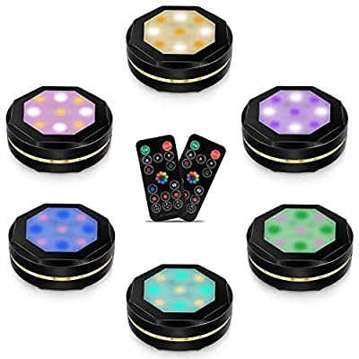 6 Pack Wireless Puck Lights with 2 Remote Controls, 16 Colors Changing LED Under Cabinet Lighting, Dimmable Closet Light, Under Counter Lights for Kitchen, Battery Operated Lights, Stick On Lights