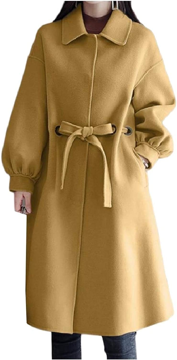 Baseby Womens Belted WoolBlend Trench Plus Size Button Winter Overcoat