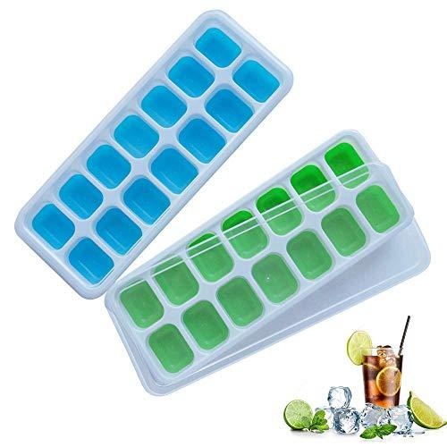 Frdzsw 2 Pack Bac à Glaçons en Silicone avec Couvercle Non-Déversement,Moules à Glace,sans BPA,LFGB Certifié, Glace Cube Tray pour l'eau Cocktails et Autres Boissons,Vert + Bleu