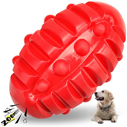 HAOPINSH Squeaky Dog Toys for Aggressive Chewers Almost Indestructible, Rubber Dog Squeaking Toys Tough Durable Interactive Puppy Ball Pet Chew Toys for Medium and Large Breed Red