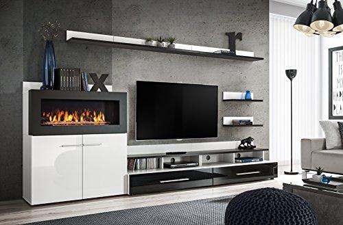 Moderner Wohnwand Livers mit Bio Kamin Anbauwand Schrankwand Schwarz+Weiß 21