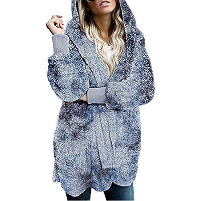 Dosoop Womens Long Sleeve Fluffy Coat, Winter Fuzzy Fleece Open Front Hooded Cardigans Jacket Coats Outwear with Pocket