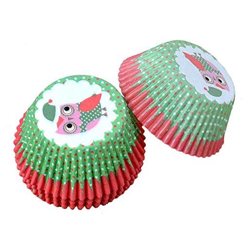 Szaerfa 100 PCS Baking Muffin Cuisine Cake Cup Noël Owl Liners Cupcake Papier