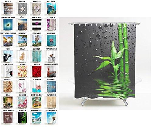 Sanilo Duschvorhang, viele schöne Duschvorhänge zur Auswahl, hochwertige Qualität, inkl. 12 Ringe, wasserdicht, Anti-Schimmel-Effekt (180 x 200 cm, Virella)