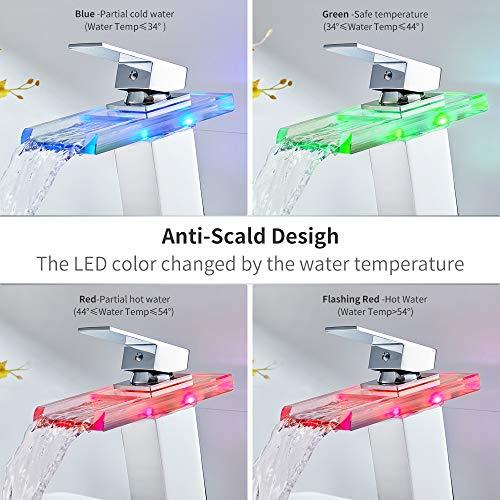 Auralum Led Waschtischarmatur Wasserfall Glas Wasserhahn mit RGB Farbewechsel Bad Badezimmer Waschbecken WC, Chrom - 2