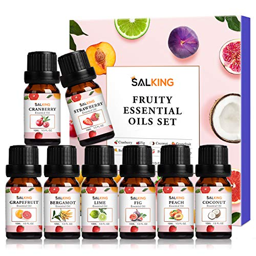 SALKING Fruity Fragrance Essential Oils Set 8 x 10ML,Fruits Scented Oilsfor Diffuser Candle Making - Bergamot,Grapefruit,Strawberry,Cranberry,Lime,Fig,Peach,Coconut