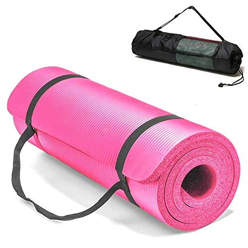 Esterilla Yoga Alfombrilla de Yoga fitness10MM Grueso 183*61cm Esterilla de Fitness Ecológica Colchoneta de Yoga Fitness Gimnasio Cámping Antideslizant con bolsillo cómoda (Rosa, Grues10MM)