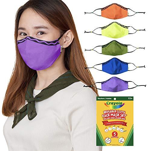 Crayola Teachers/Adult Reusable Cloth Face Mask Set, Classic Stripe, Back to School Supplies