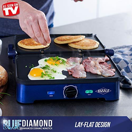 Blue Diamond Cookware CC002858-002 Ceramic Nonstick Electric Contact Griddle, Sizzle
