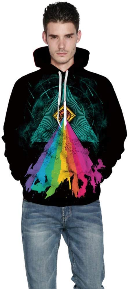 LUO Multicolore Imprimé 3D Sweats Hommes et Femmes À Capuche Sweat À Capuche Pull Hommes Sweat Streetwear Hip Hop Vêtements,M L