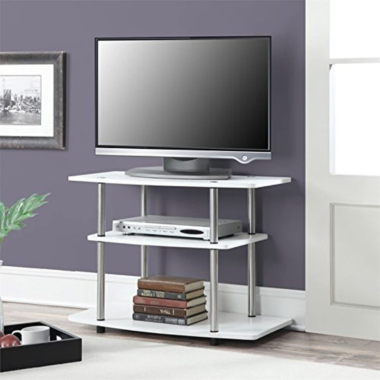 Pemberly Row 32  3 Tier TV Stand in White