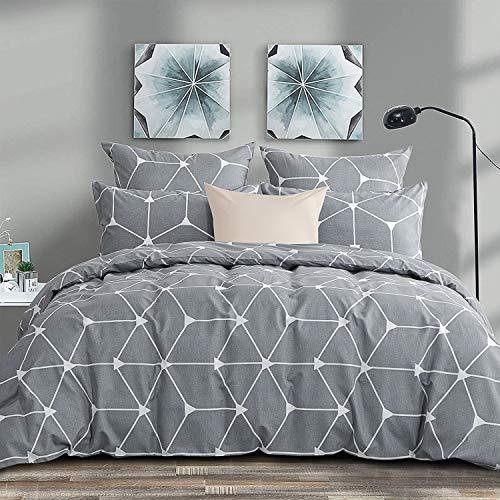 RUIKASI, Juego de funda de edredón de microfibra de 220 x 240 cm + 2 fundas de almohada de 50 x 80 cm, cama de matrimonio, 4 estaciones, color gris