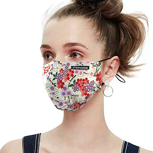 Cotton Face Mask Washable and Reusable Anti-Fog Dust-Proof Mouth Cover Protection with Filter Pocket Cloth Face Mask