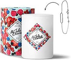 MY JOLIE CANDLE - Bougie parfumée avec Bijou Suprise à l'intérieur - Bijou : Bracelet en Argent - Parfum : Fruits Rouges...