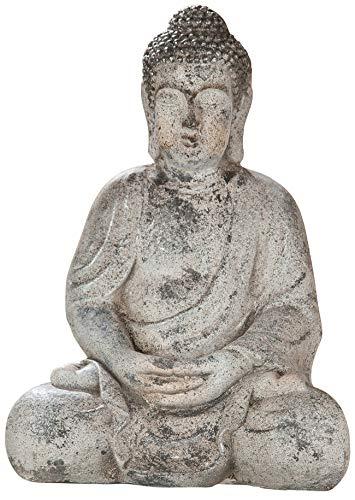 dekojohnson Thai Buda Figura decorativa de jardín Escultura de jardín Estatua Japonesa Jardín Decoración Jardín Figura Budismo Accesorio Interior Exterior 41 cm
