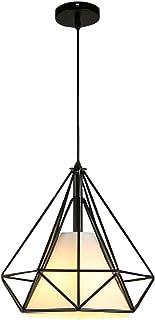 Vecys Lámpara Colgante Industrial Vintage E27 Araña de Restaurante Nórdico Loft Light Simple y Creativo Arte Moderno Araña de Diamantes(Negro,25CM)