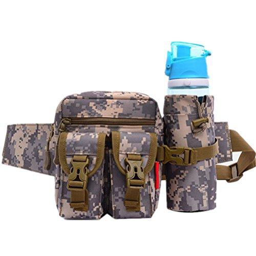 Sac banane multifonction militaire, bouteille d'eau portable, sac de taille pour voyage, extérieur, camping (gris militaire)