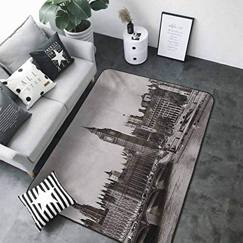 Anti-Slip Outdoor Rugs London,Westminster with Big Ben and Bridge Nostalgic Image British Antique Architecture,Sepia White 64'x 96' Kids Rugs for playroom